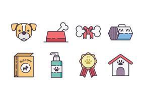 Conjunto de ícones de acessórios para cães vetor