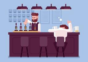 Menino bêbado em uma ilustração de bar