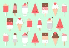 Conjunto de sorvete de vetores Flat Design grátis