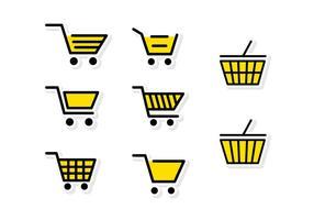 Carrinho de supermercado amarelo plano
