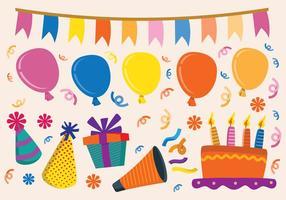 Elementos de aniversário retro vetor