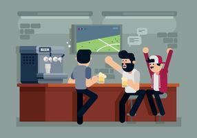 Indivíduos em uma ilustração de bar