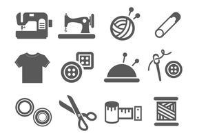 Vector de ícones de costura e agulha grátis