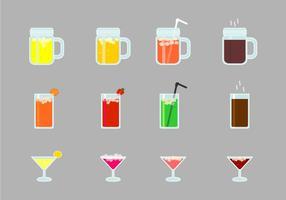 Conjunto de Bebidas de Álcool e Mocktails vetor