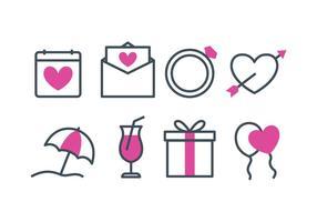 Conjunto de ícones de casamento de praia vetor