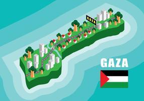 Mapa isométrico de Gaza vetor