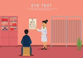 Homem fazendo exame de olho em ilustração clínica