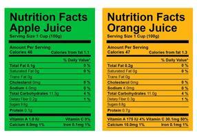 Vetores de etiqueta dos fatos nutricionais
