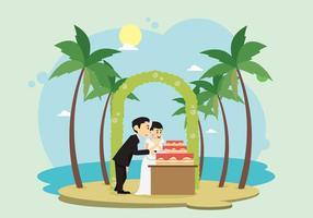 Cerimônia de casamento na ilustração da praia vetor