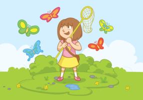 Menina com ilustração vetorial da rede borboleta vetor