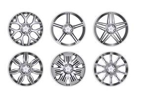 Conjunto de roda de liga de carro vetor