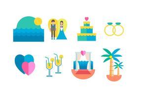 Ícones de vetores de casamento de praia grátis