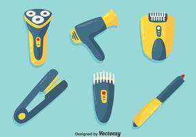 Bonito vetor de elementos de ferramentas de barbeiro