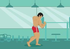 Homem forte que flexiona a ilustração do bíceps