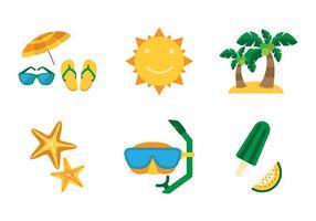 Conjunto de ícones planos da praia vetor