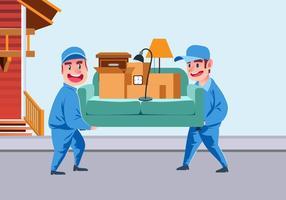 Movers que carregam um vetor do sofá