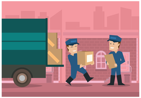 Movers with pink city background vector illustration