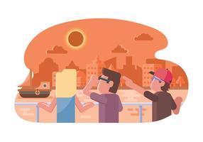 Pessoas assistindo a ilustração do eclipse solar vetor