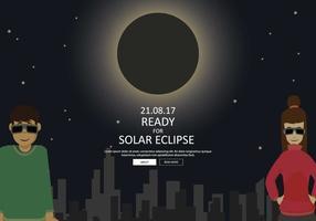 Casal livre pronto para ver a ilustração do eclipse solar vetor