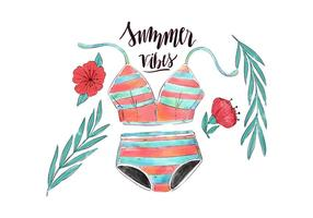 Swimwear do vintage da aguarela com folhas e flor com citações do verão vetor