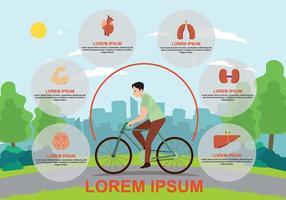 Benefícios gratuitos do ciclismo Iluminação da bicicleta vetor