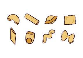 Vários ícones de Doodle de macarrão vetor