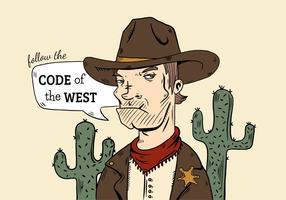 Vaqueiro mau do menino com cacto e citações ocidentais selvagens