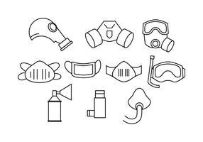 Vetor livre de ícones de linha de respirador