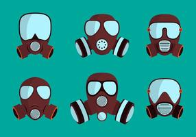 Conjunto de respirador de máscara de gás vetor