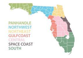 Mapa da Flórida com Regiões Vector