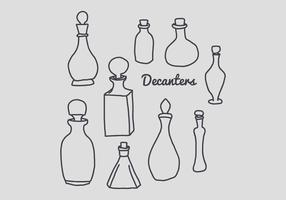 Doodles of Decanters vetor