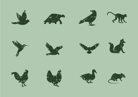 Ícones de animais com estilo de litografia vetor