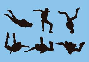Skydiving silhueta vector livre