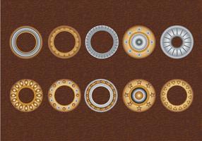 Set Eyelets, Flat Washer e Grommets em um fundo de couro vetor