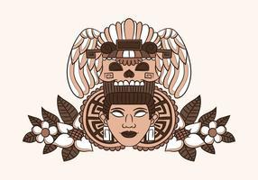 Ornamento mulher azteca com crânio étnico e folhas com flores vetor