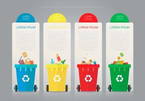 Recicle e reutilize a caixa de lata e outro lixo vetor
