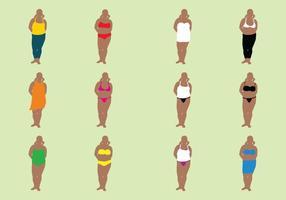 Mulher gorda em ternos de banho vetor