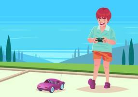Menino brincando com carro rc vetor