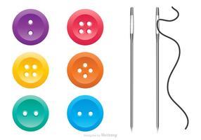 Botões de vestuário colorido e conjunto de vetores de agulhas de costura