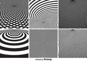 Padrões vetoriais circulares psicodélicos monocromáticos abstratos vetor