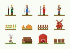 Ícone da colheita da vila vetor