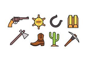Pacote de ícones do oeste selvagem vetor