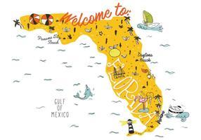 Desenho da mão do mapa de Flórida Ilustração Vector