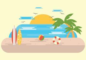 Vetor do surf do verão do por do sol