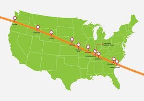 Mapa Solar do Eclipse dos Estados Unidos vetor