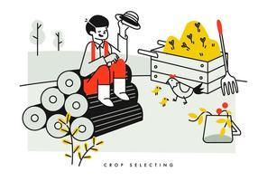 Cultivo de camponeses selecionando e cultivando ilustração vetorial de gado