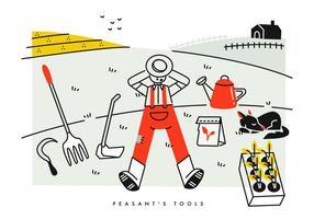 Ilustração agrícola do vetor das ferramentas da agricultura camponesa