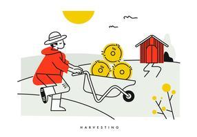 Ilustração do vetor do arroz da colheita do camponês