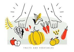 A mão do camponês cheia de frutas e vegetais da safra Vector Ilustration