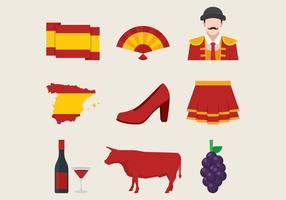 Conjunto de símbolos tradicionais espanhóis vetor